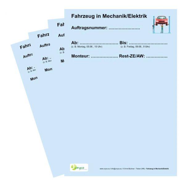 """""""Fahrzeug in Mechanik/Elektrik"""" Spezialkarte für die Werkstattdisposition"""